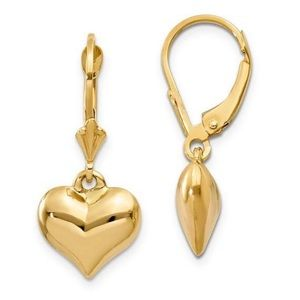 Jewelry - 14 Ct Yellow Gold Puffed Heart Earrings
